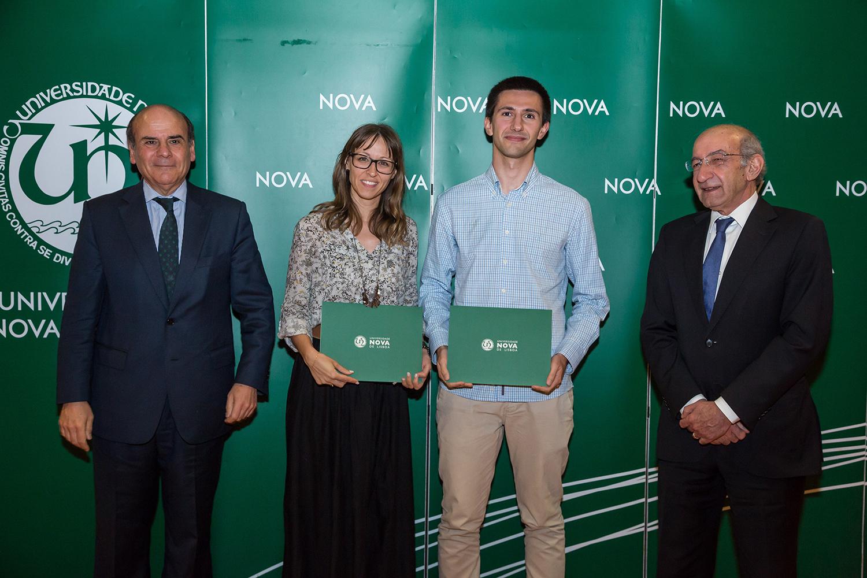 Reitor da NOVA, Dra. Joana Alves do Colégio Bartolomeu Dias, Ricardo Carioca - estudante de Engenharia de Micro e Nanotecnologias, e Diretor da Faculdade de Ciências e Tecnologia da NOVA