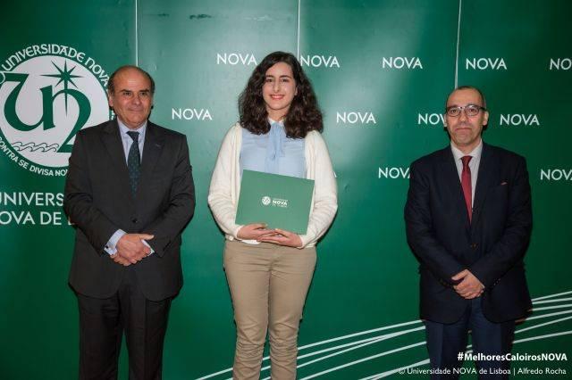 Reitor da NOVA, Mariana Morais - estudante de História, e Diretor da Faculdade de Ciências Sociais e Humanas da NOVA