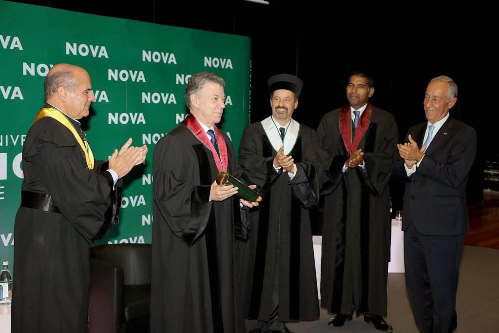António Rendas, Juan Manuel Santos, João Sàágua, Daniel Traça e Marcelo Rebelo de Sousa