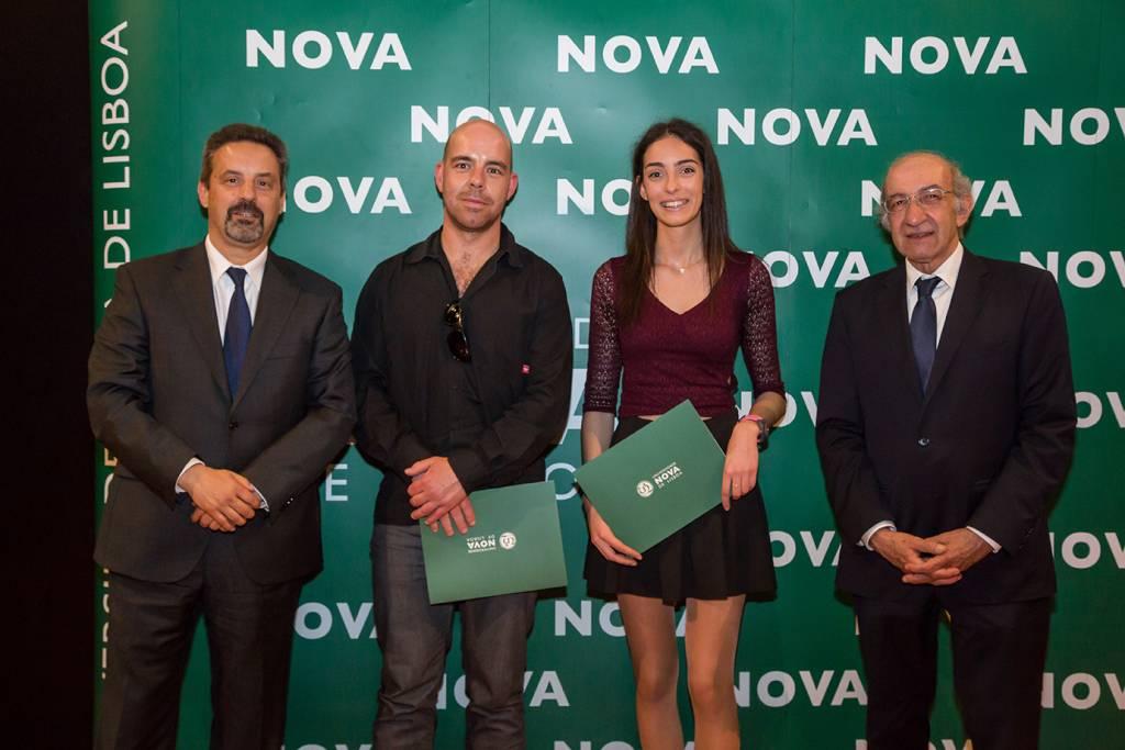 Rector of NOVA; Pedro Amieiro (representing Escola Secundária de Aljustrel); Ana Rita Godinho (best student of Electrotechnic and Computer Engineering) and Dean of FCT NOVA
