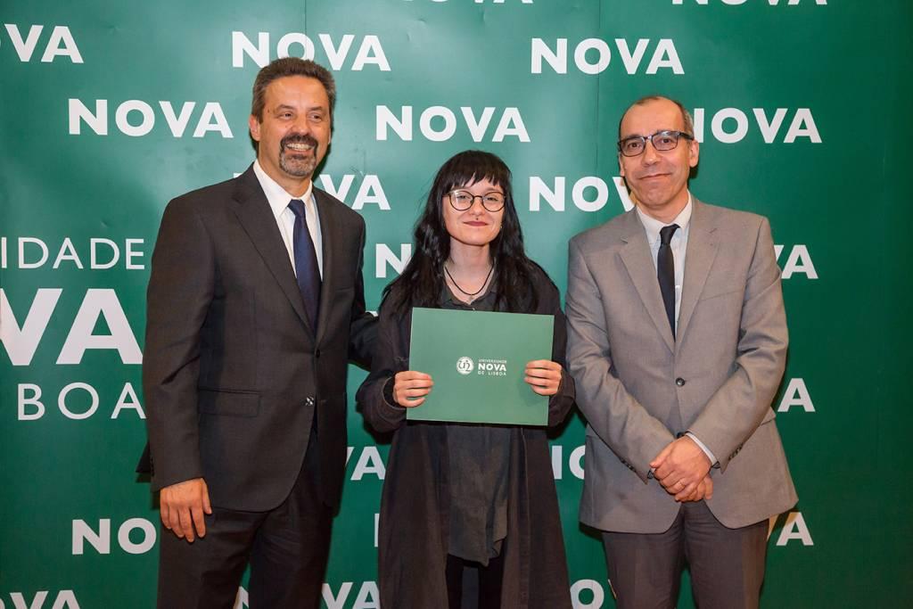 Rector of NOVA; Anastasiya Kasprova (best student of Sociology) and Dean of NOVA FCSH