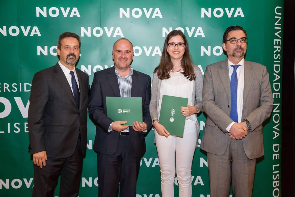 Rector of NOVA; Manuel Lourenço (Dean of Escola Secundária Ginestal Machado); Catarina Neves (best student of Information Management) and Pedro Simões Coelho, Dean of NOVA IMS