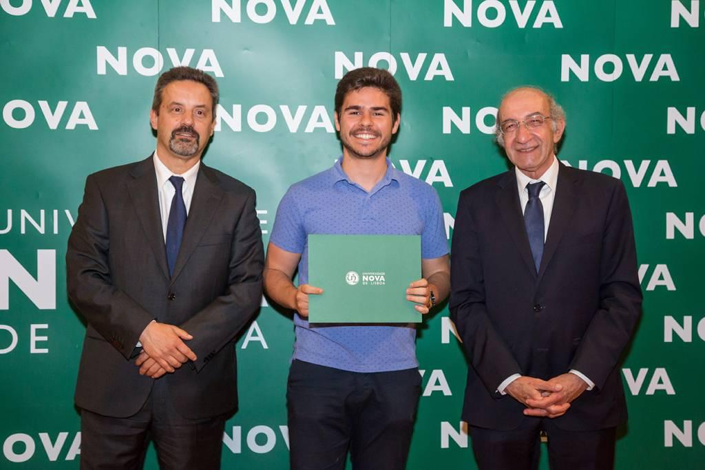 Rector of NOVA; David Fernandes (best student of Environmental Engineering) and Dean of FCT NOVA