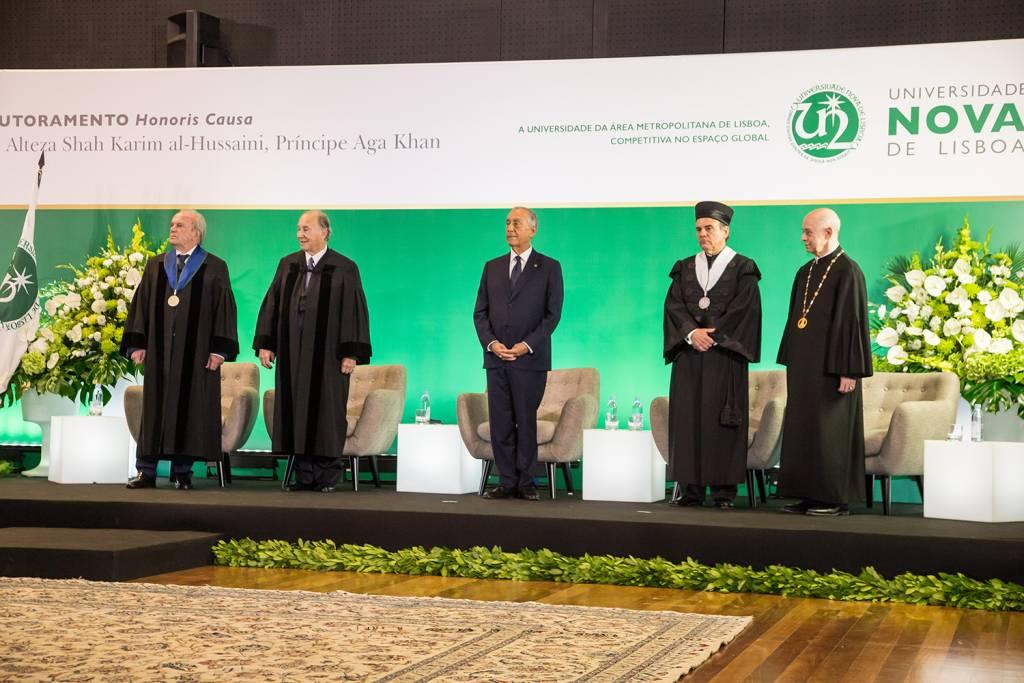 Francisco Pinto Balsemão, Prince Aga Khan, Marcelo Rebelo de Sousa, António Rendas and Eduardo de Arantes e Oliveira