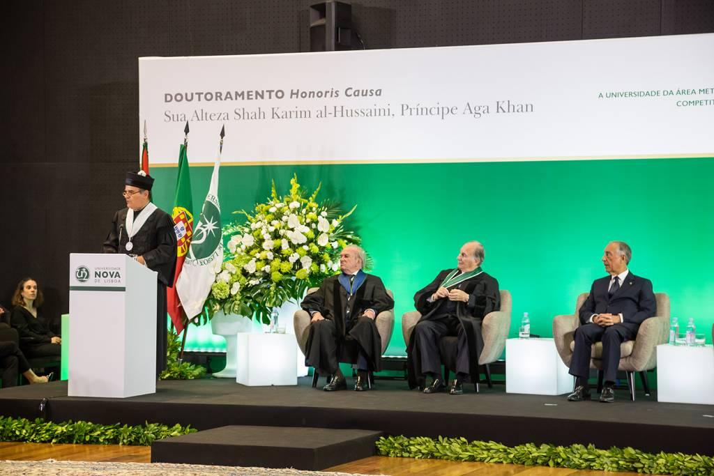 António Rendas, Francisco Pinto Balsemão, Prince Aga Khan and Marcelo Rebelo de Sousa