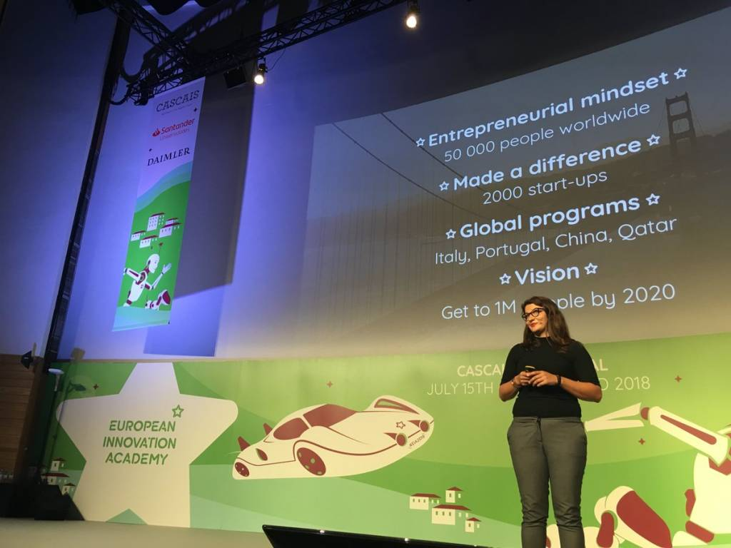 Anni Sinijarv, fundadora da European Innovation Academy, na sessão de abertura da EIA 2018