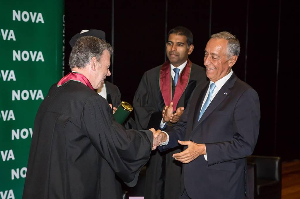 Juan Manuel Santos, Daniel Traça and Marcelo Rebelo de Sousa