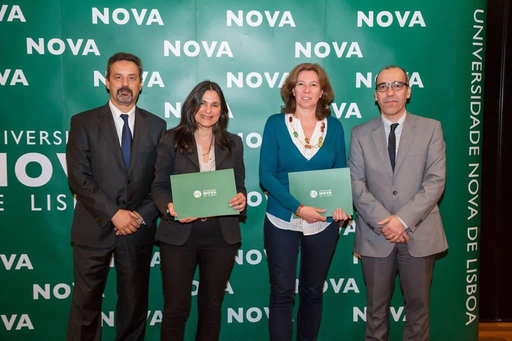 Rector of NOVA; Alexandra Orta (representing Inês Faria, best student of Communication Sciences); Ângela Lopes (representing Escola Secundária de Camões) and Dean of NOVA FCSH