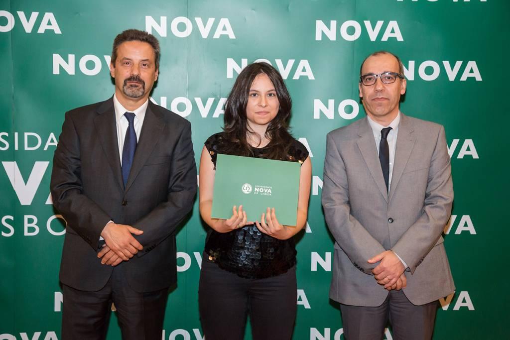 Rector of NOVA; Joana Peliz (best student of Musical Sciences) and Dean of NOVA FCSH