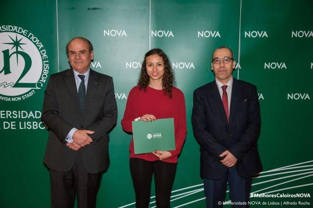 Reitor da NOVA, Raquel Lourenço - estudante de Ciências da Comunicação, e Diretor da Faculdade de Ciências Sociais e Humanas da NOVA