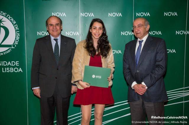 Reitor da NOVA, Joana Rosa - estudante de Engenharia de Materiais, e Diretor da Faculdade de Ciências e Tecnologia da NOVA