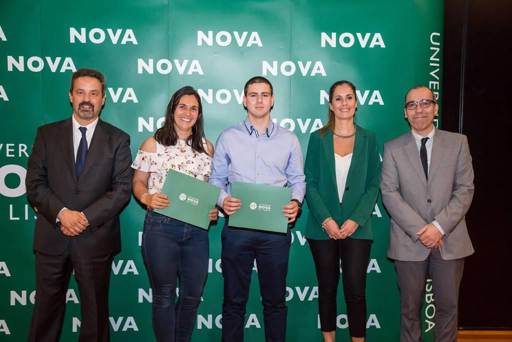 Rector of NOVA; Raquel Galeão (Dean of Colégio Rainha D. Leonor); Bernardo Costa (best student of Geography and Regional Planning); Sandra Santos (Dean of Colégio Rainha D. Leonor) and Dean of NOVA FCSH