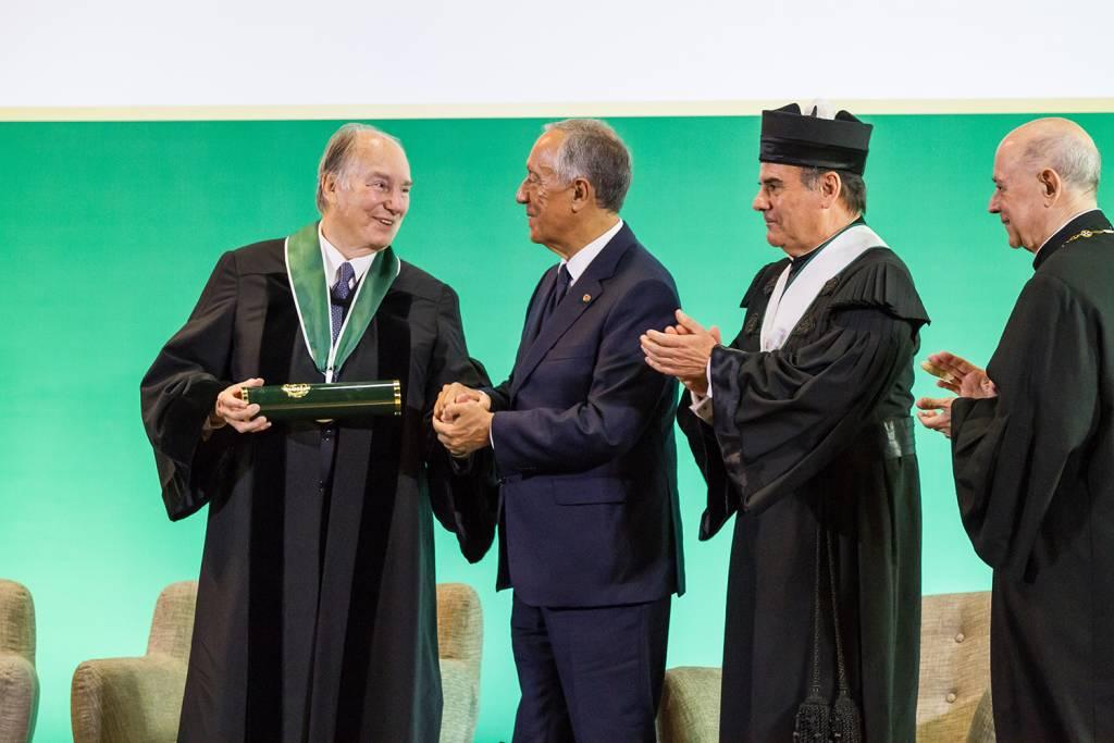 Príncipe Aga Khan, Marcelo Rebelo de Sousa, António Rendas e Eduardo de Arantes e Oliveira