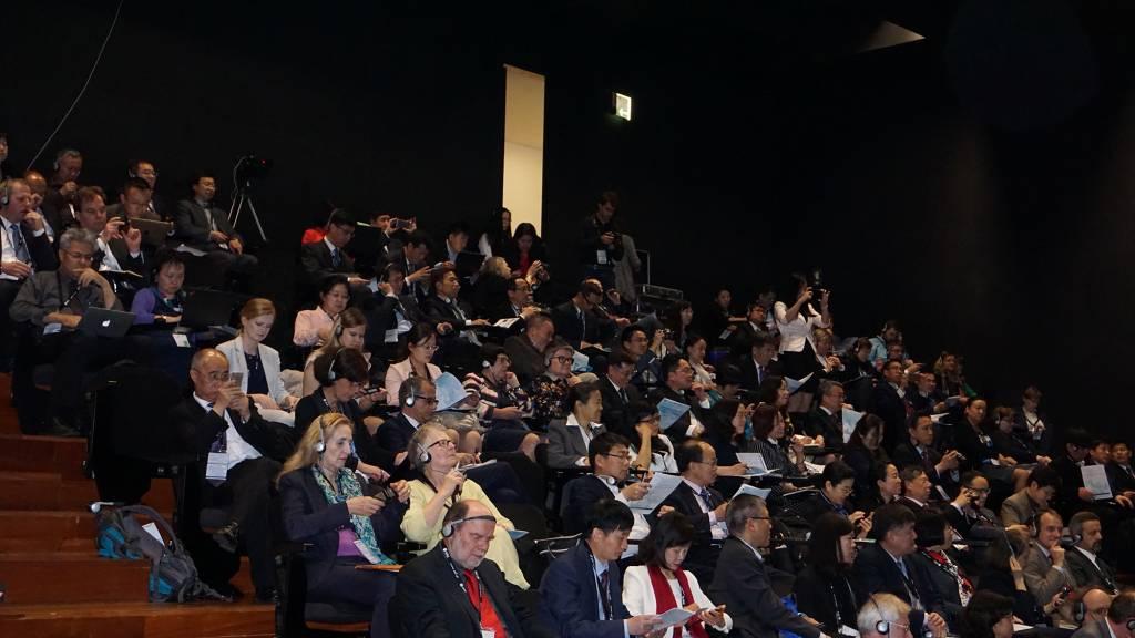 Participantes no auditório no segundo dia do evento