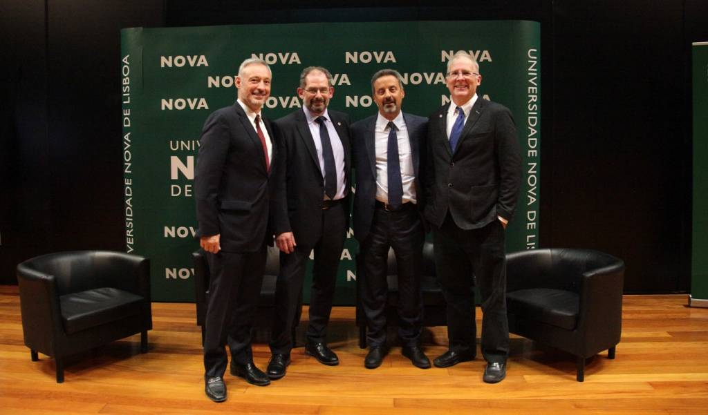 Prof. João Amaro de Matos, Vice-Rector of NOVA; Prof. Kirk Semple, from Lancaster University; Prof. João Sàágua, Rector of NOVA; and Prof. Robert Geyer, from Lancaster University