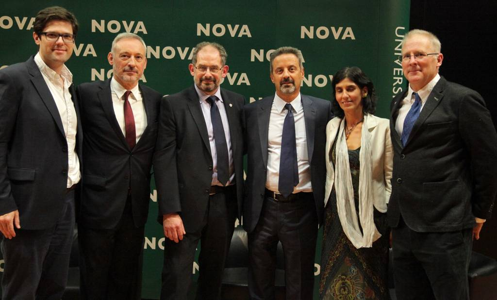 Prof. Patrick Rebuschat,from Lancaster University; Prof. João Amaro de Matos, Vice-Rector of NOVA; Prof. Kirk Semple, from Lancaster University; Prof. João Sàágua, Rector da NOVA; Dr. Joana Zozimo and Prof. Robert Geyer, both from Lancaster University