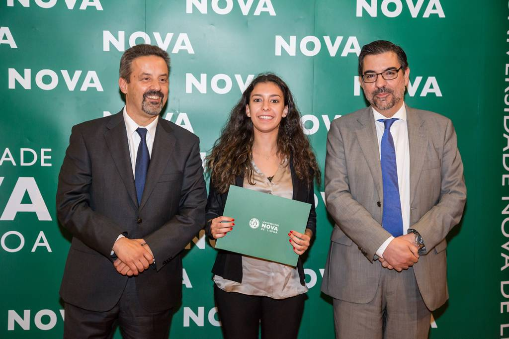 Rector of NOVA; Lara Oliveira (best student of Information Systems and Technology) and Dean of NOVA IMS