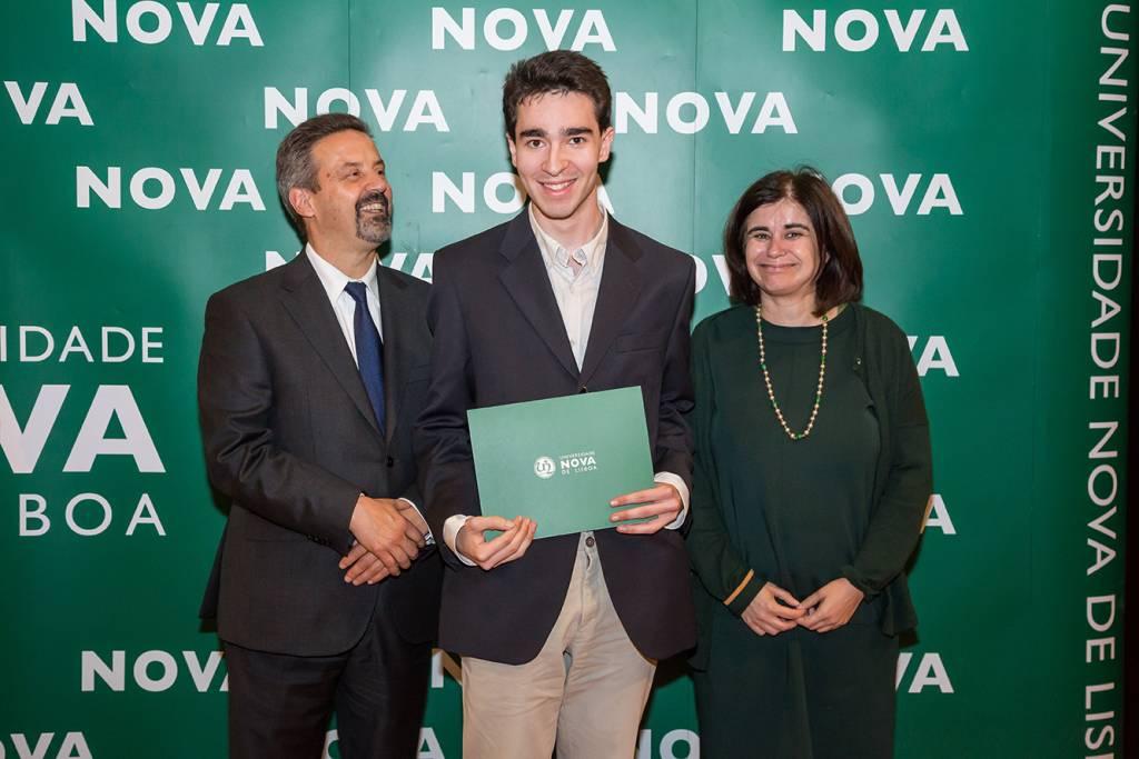 Rector of NOVA; Pedro Silva (best student of Law) and Helena Pereira de Melo, representing NOVA School of Law