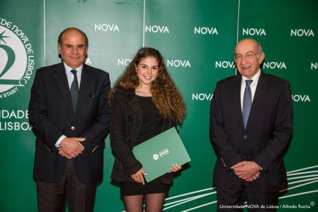 Reitor da NOVA, Mariana Antunes - estudante de Química Aplicada, e Diretor Faculdade de Ciências e Tecnologia da NOVA
