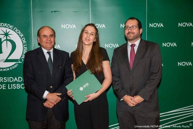 Reitor da NOVA, Bárbara Raposo-estudante de Ciências Musicais, e Diretor da Faculdade de Ciências Sociais e Humanas da NOVA