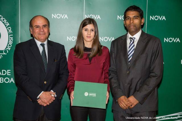 Reitor da NOVA, Mariana Nobre-estudante de Gestão, e Subdiretor Nova School of Business and Economics
