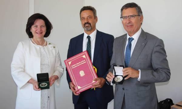Procuradora-Geral da República do Brasil, Raquel Dodge; Prof. João Sàágua, Reitor da NOVA e Prof. Virgílio Machado, Diretor da FCT NOVA